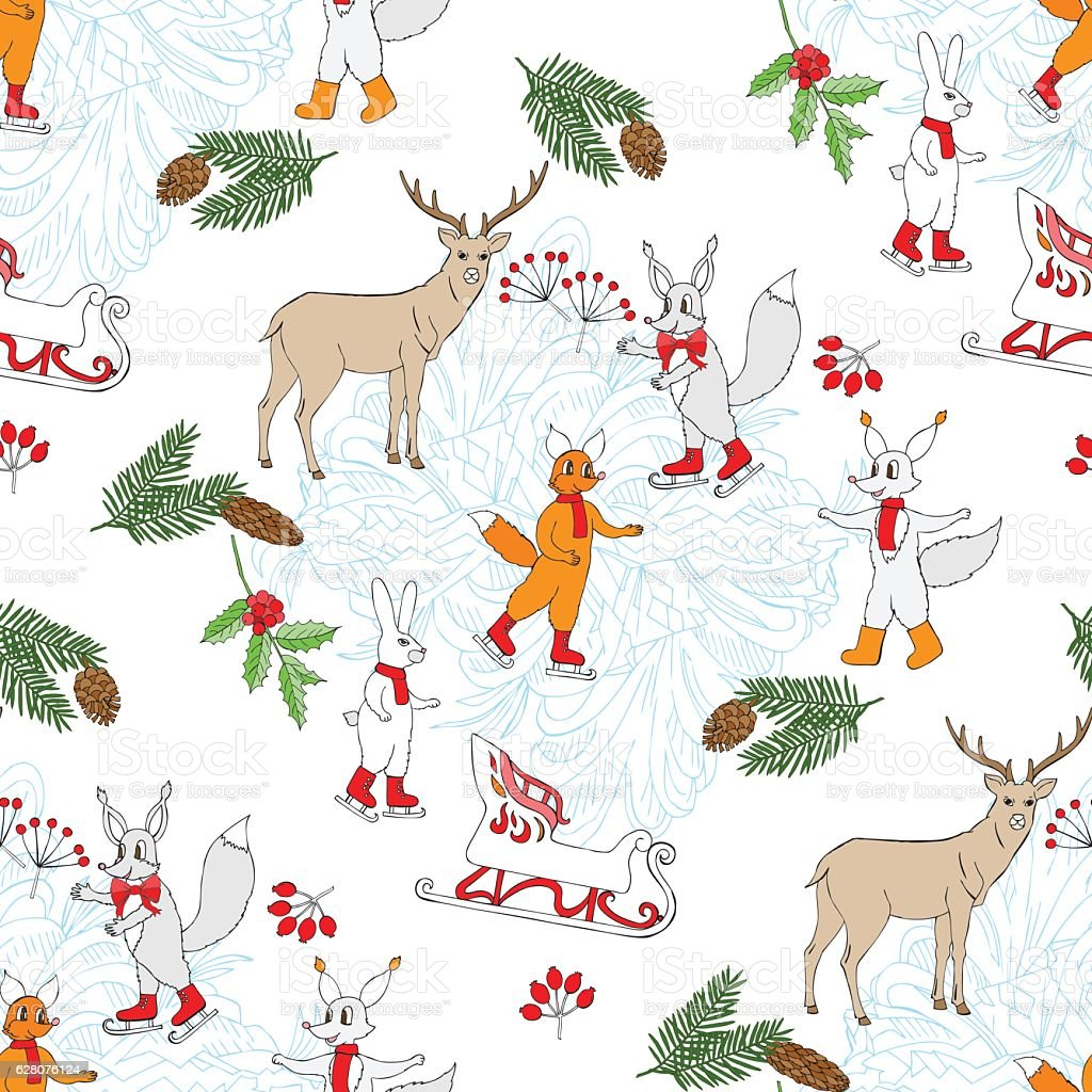 Seamless pattern with Christmas forest vector art illustration