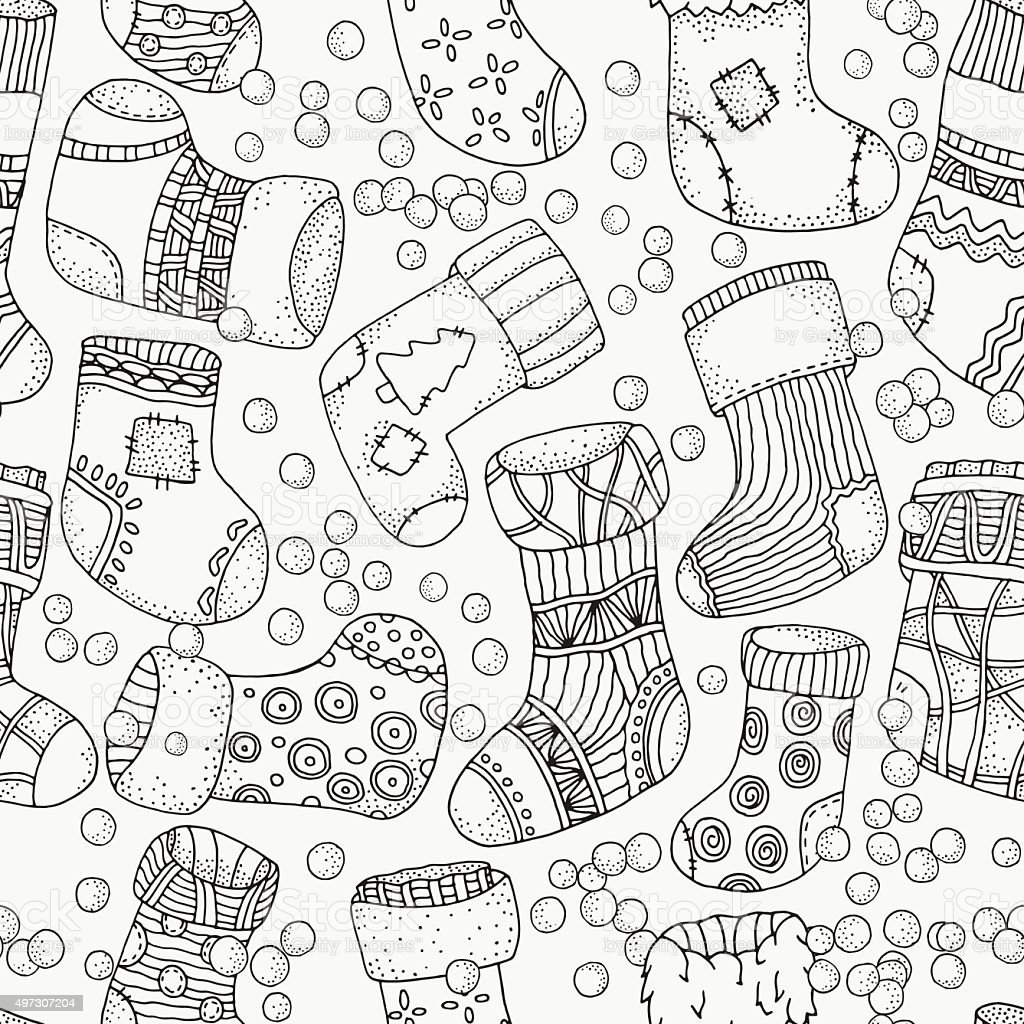 Seamless pattern with Christmas Socks. vector art illustration