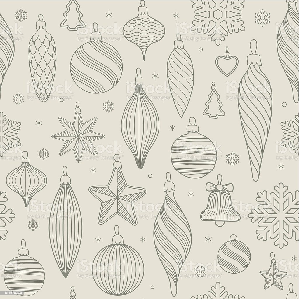 seamless pattern with Christmas tree decorations vector art illustration