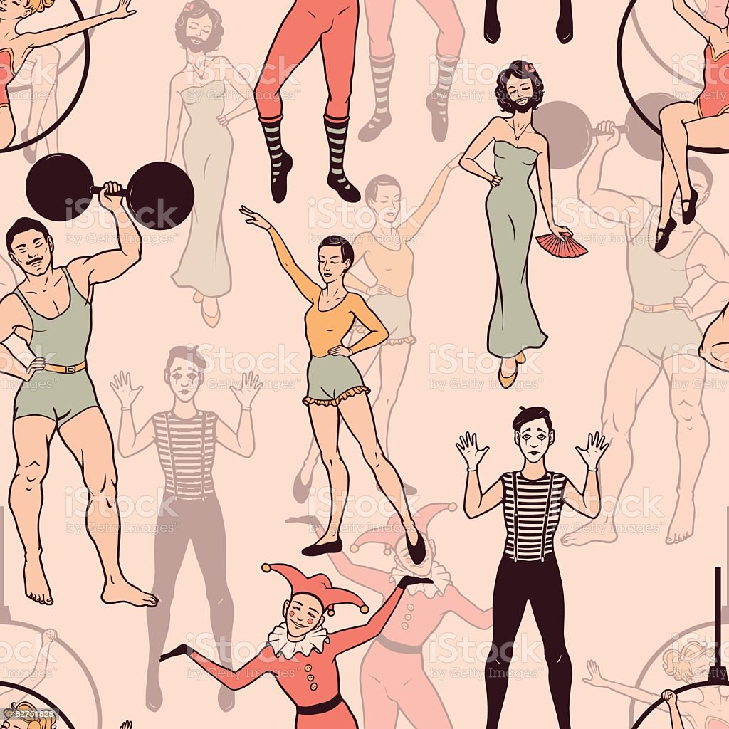 Seamless pattern with circus performers vector art illustration