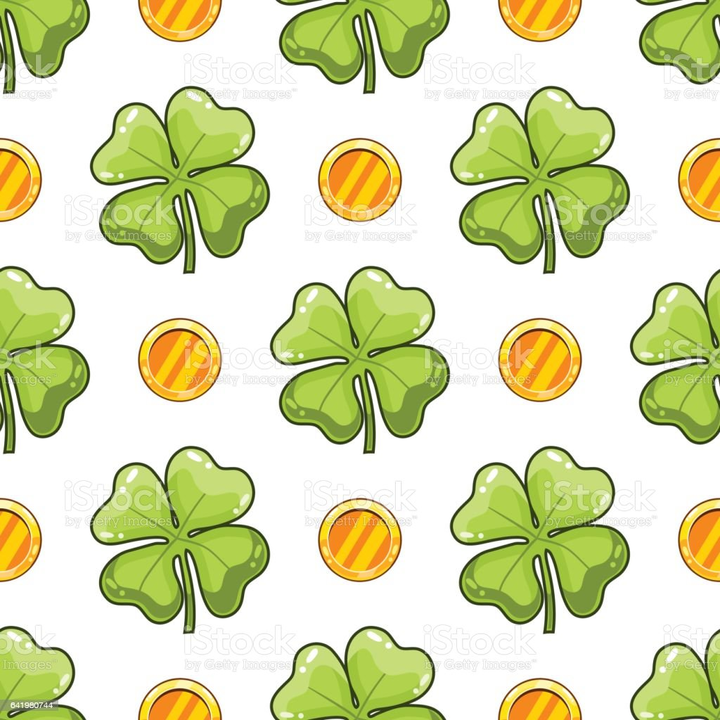 Seamless pattern with clover leaf vector art illustration