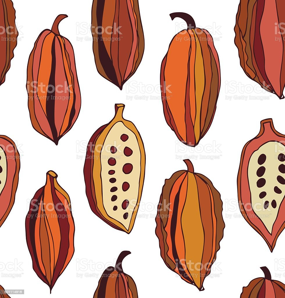 Seamless pattern with cocoa beans vector art illustration