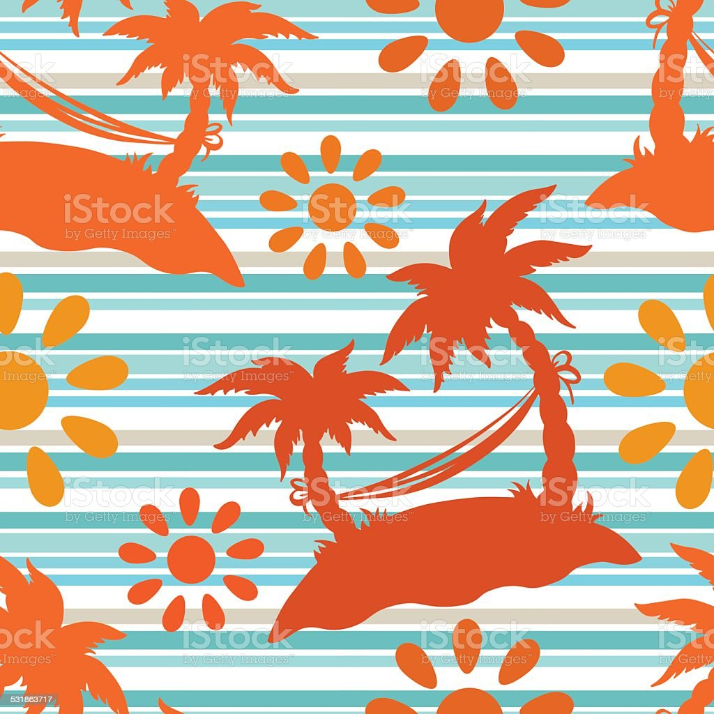 Seamless pattern with coconut palm trees, hammock, sun vector art illustration
