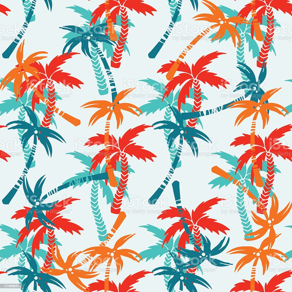 Seamless pattern with coconut palm trees vector art illustration