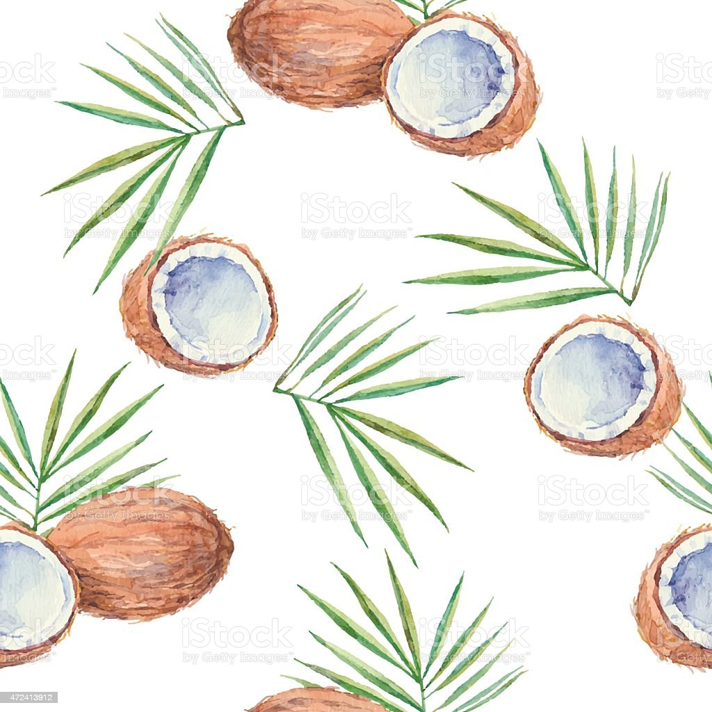 Seamless pattern with  coconuts, painted in watercolor. Vector background. vector art illustration