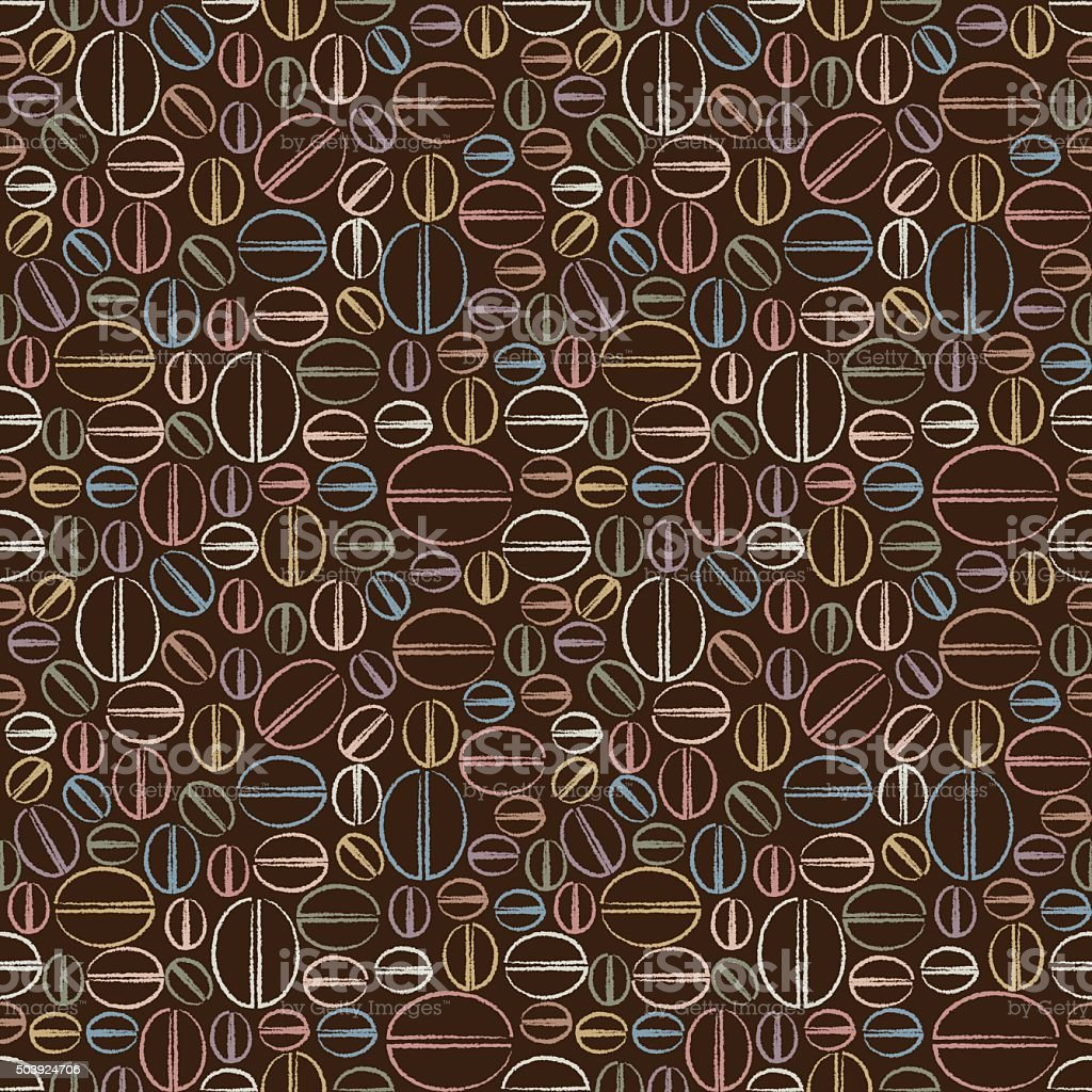 Seamless pattern with coffee beans vector art illustration