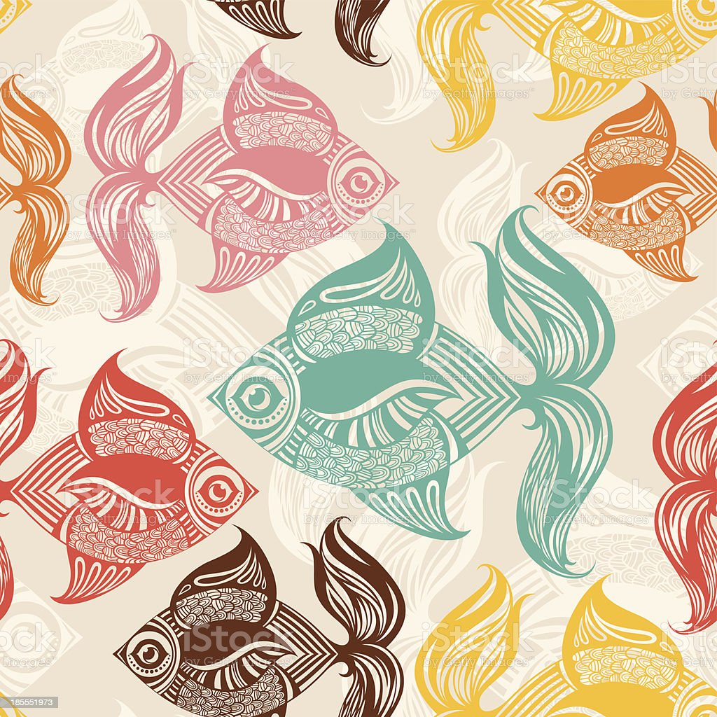 Seamless pattern with colored fishes. royalty-free stock vector art