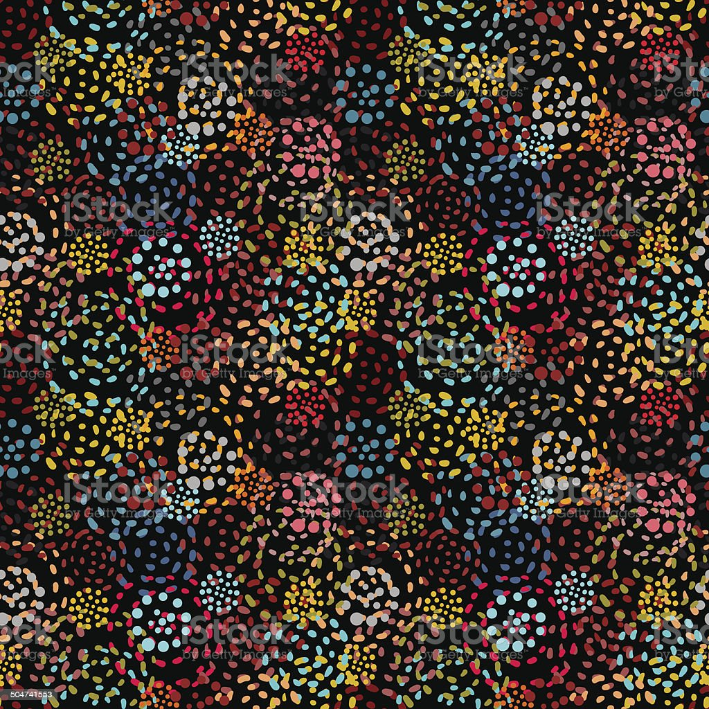 Seamless pattern with colorful abstract fireworks vector art illustration