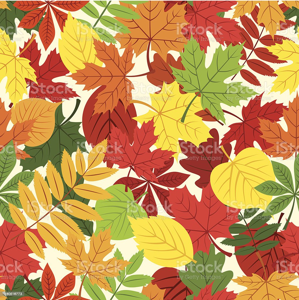 Seamless pattern with colorful autumn leaves. Vector illustration. royalty-free stock vector art