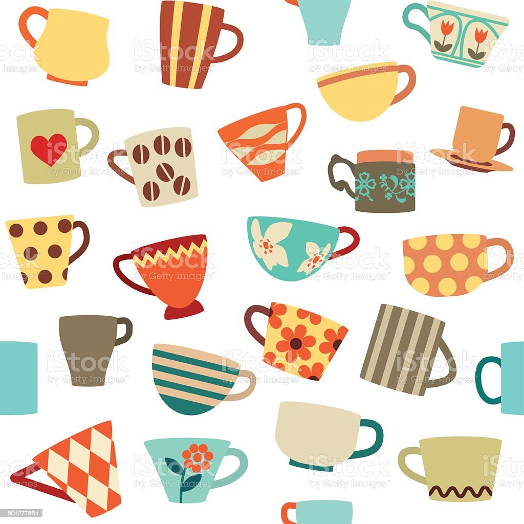 Seamless pattern with colorful cups vector art illustration