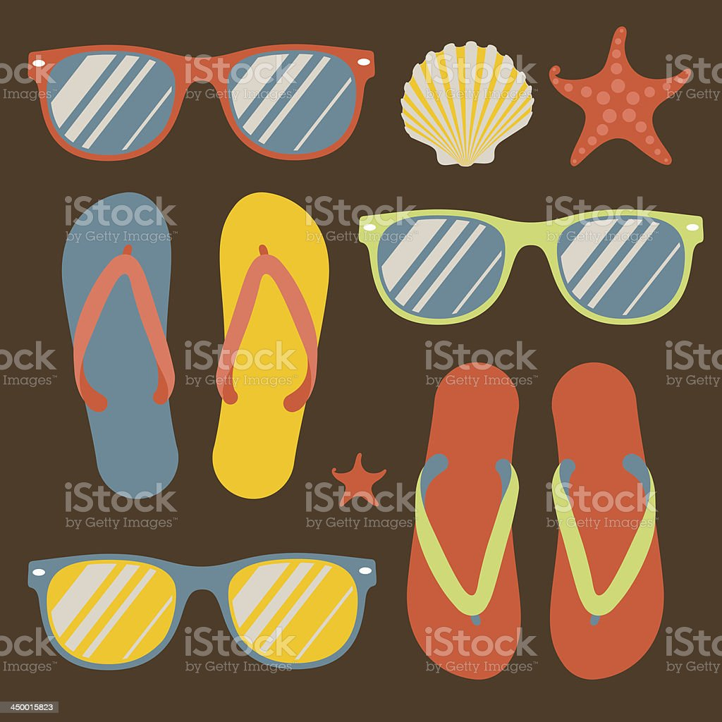 Seamless pattern with colorful flip flops and sunglasses royalty-free stock vector art