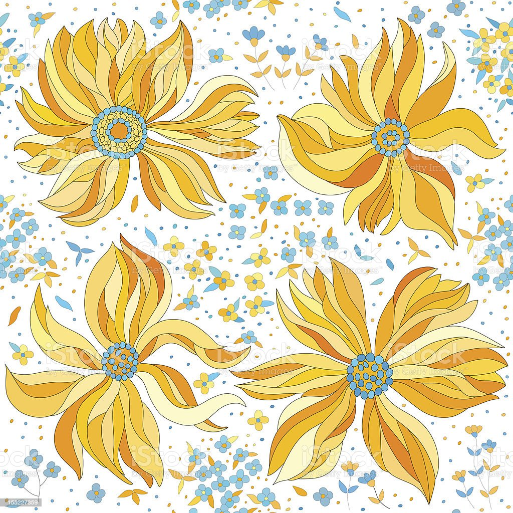 seamless pattern with colorful flowers royalty-free stock vector art