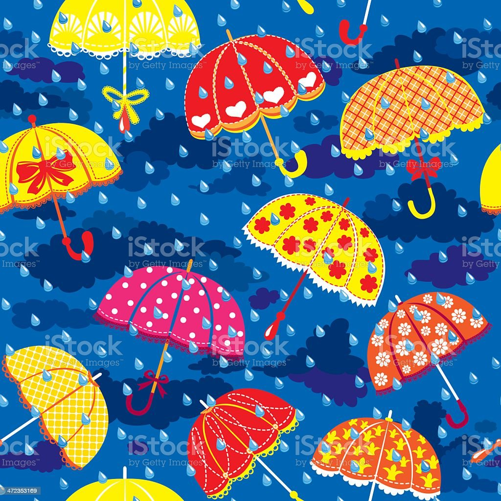 seamless pattern with colorful umbrellas, clouds and rain drops royalty-free stock vector art