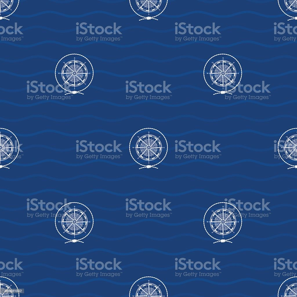 Seamless Pattern with Compass Rose vector art illustration