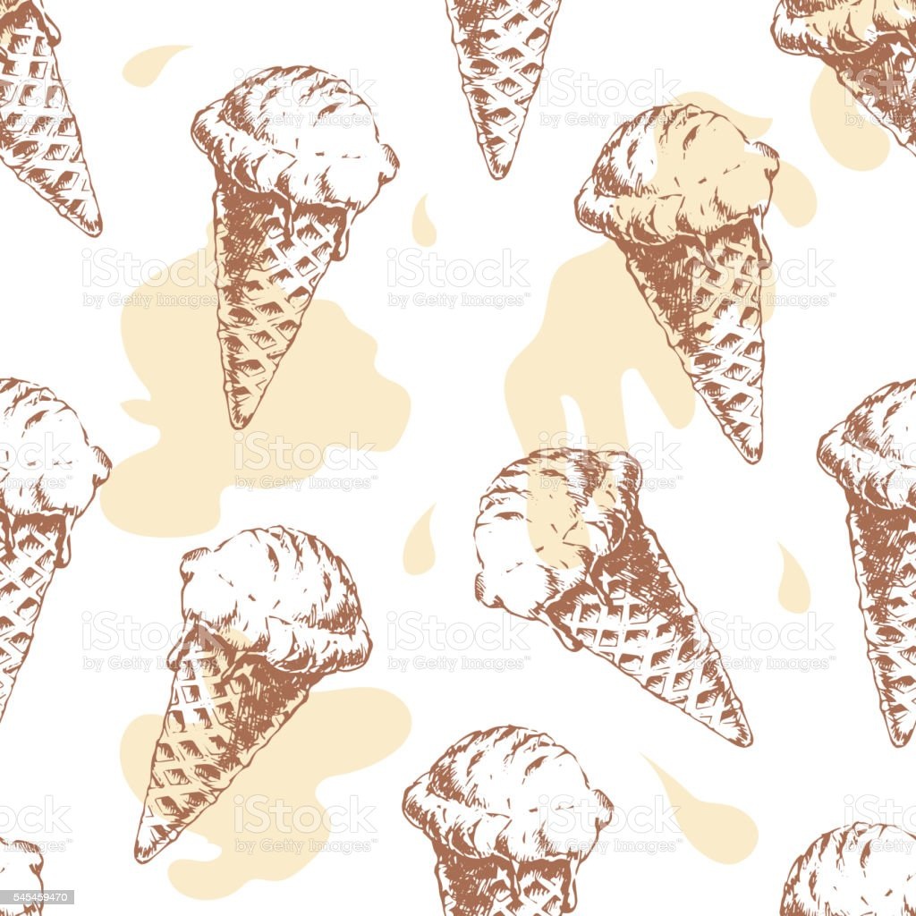 Seamless pattern with cone waffle ice cream vector art illustration