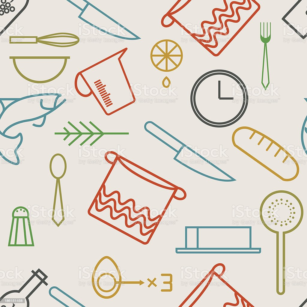 seamless pattern with cooking icons royalty-free stock vector art