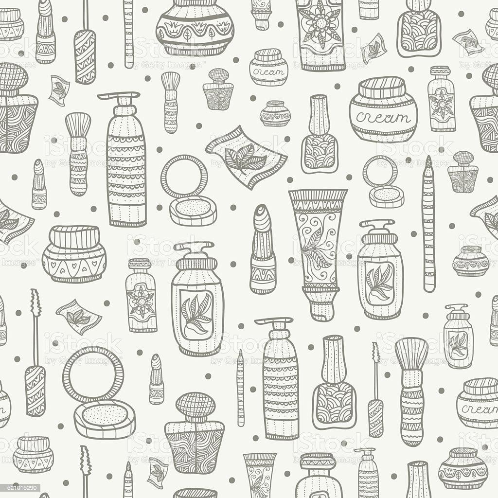 Seamless pattern with cosmetics vector art illustration