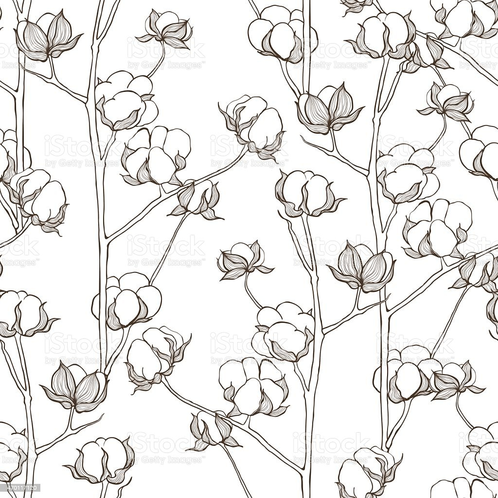 Seamless pattern with cotton branches. Vector vintage background. vector art illustration