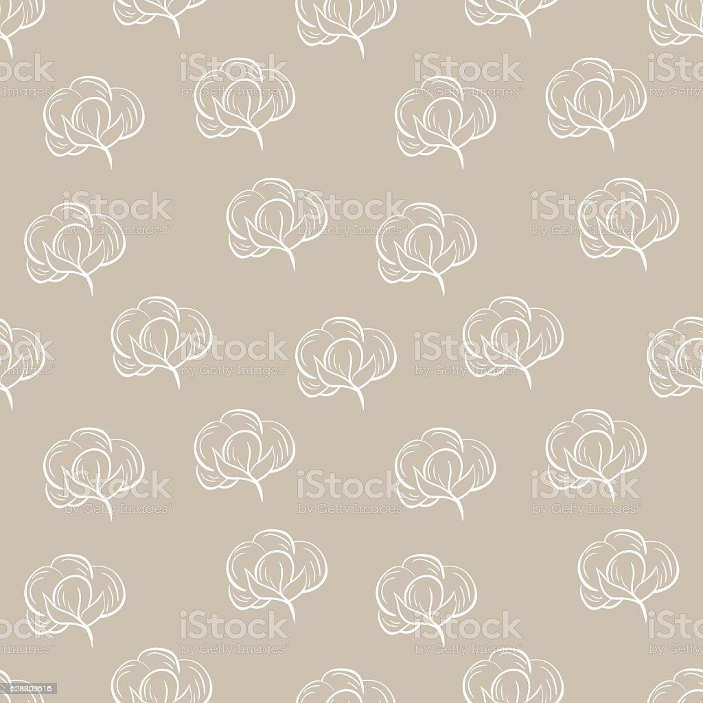 Seamless pattern with cotton. vector art illustration