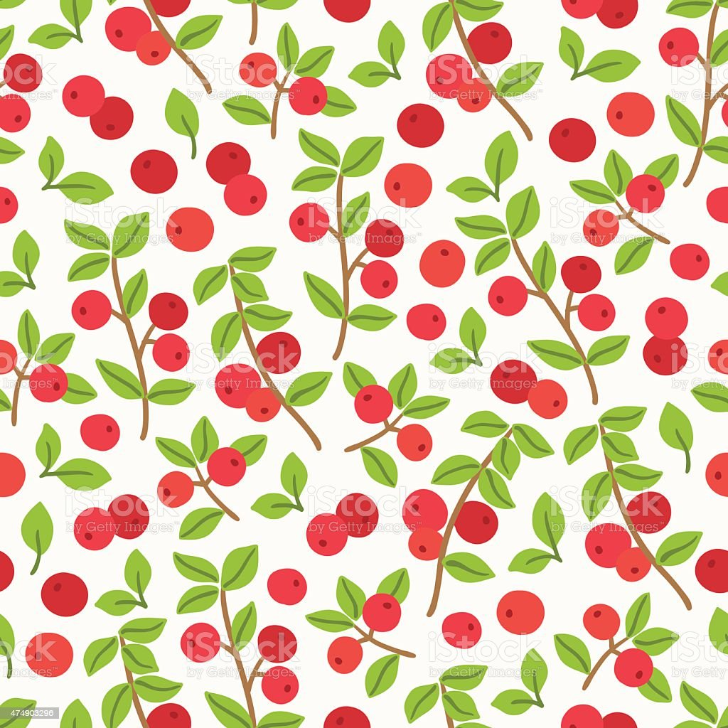 Seamless pattern with cranberries vector art illustration