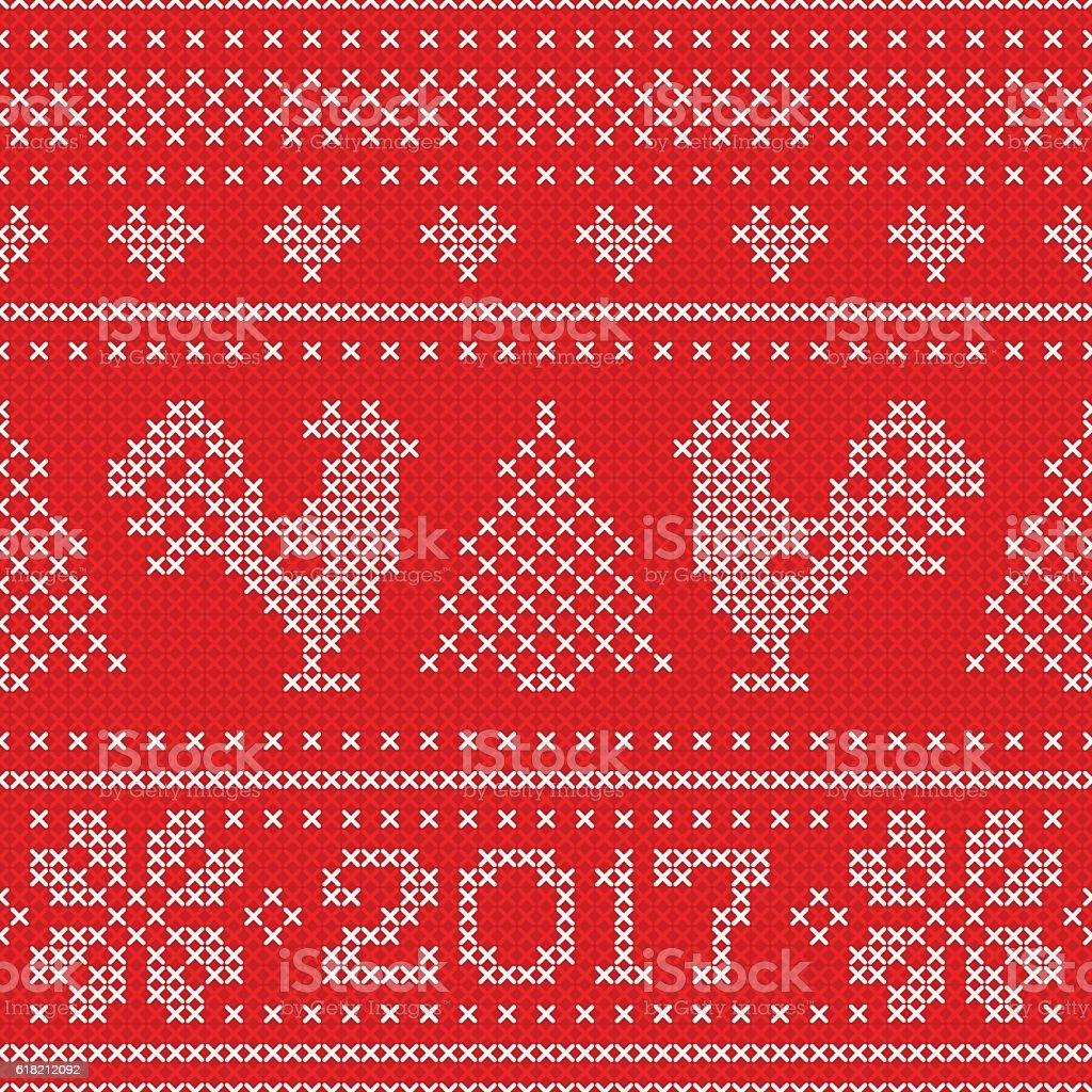 Seamless pattern with cross stitch embroidered roosters and text 2017. vector art illustration