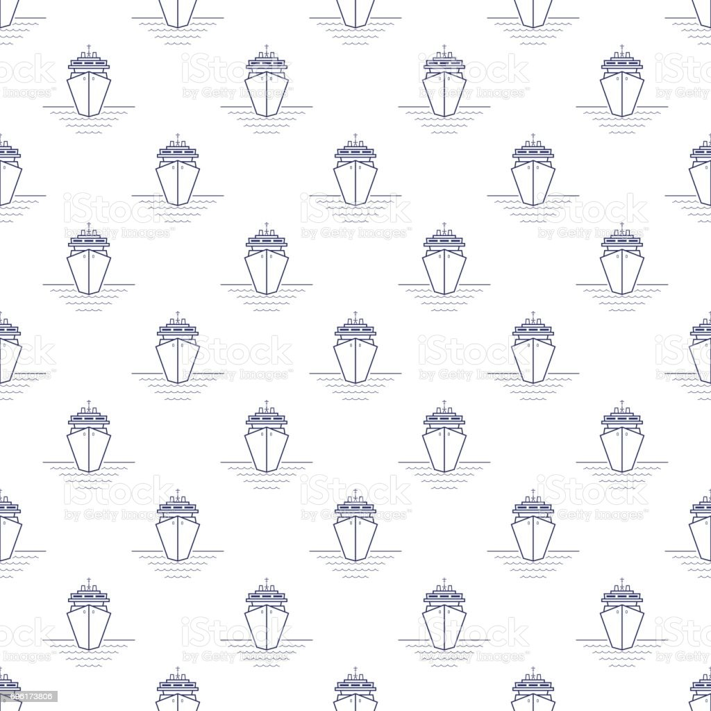 Seamless Pattern with Cruise Ship, Line Style vector art illustration