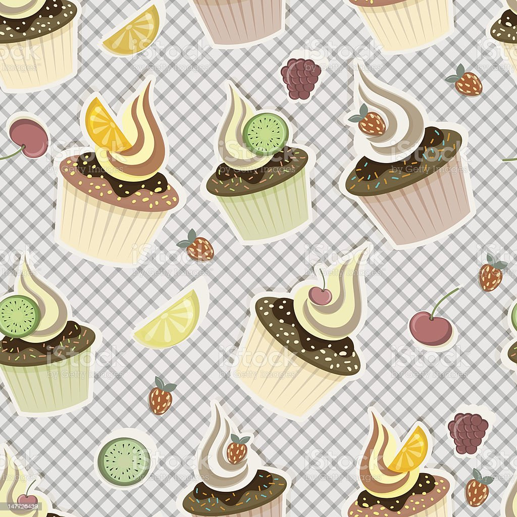 seamless pattern with cupcakes and fruits royalty-free stock vector art