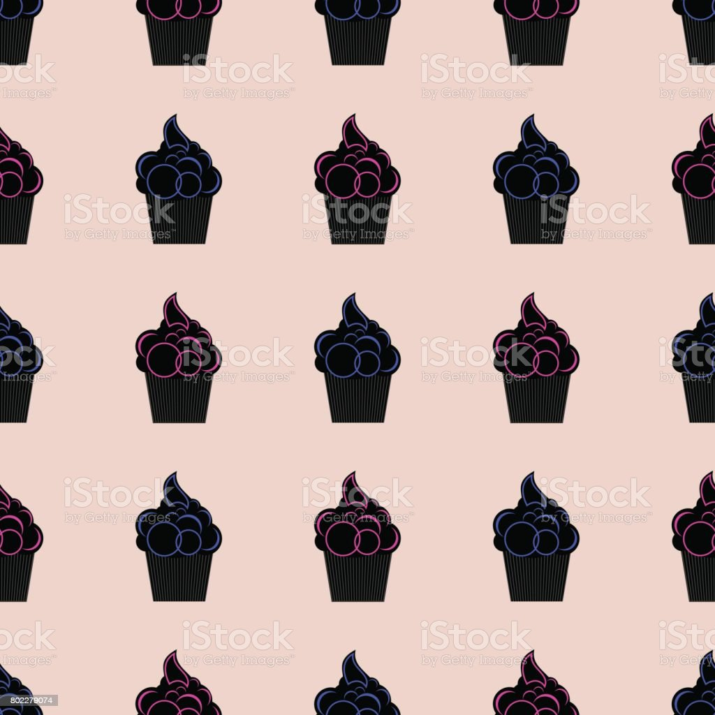 Seamless pattern with cupcakes pink and blue vector art illustration