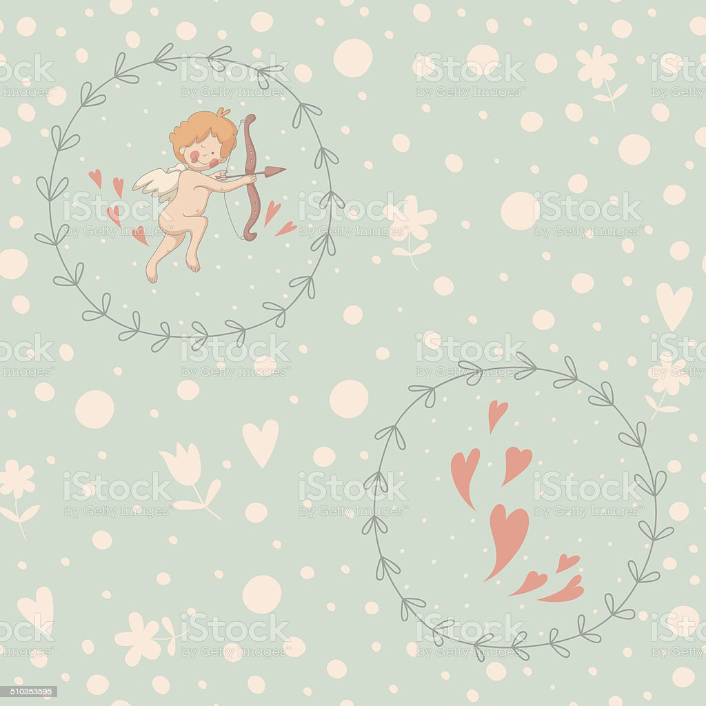 Seamless pattern with Cupid in a wreath vector art illustration
