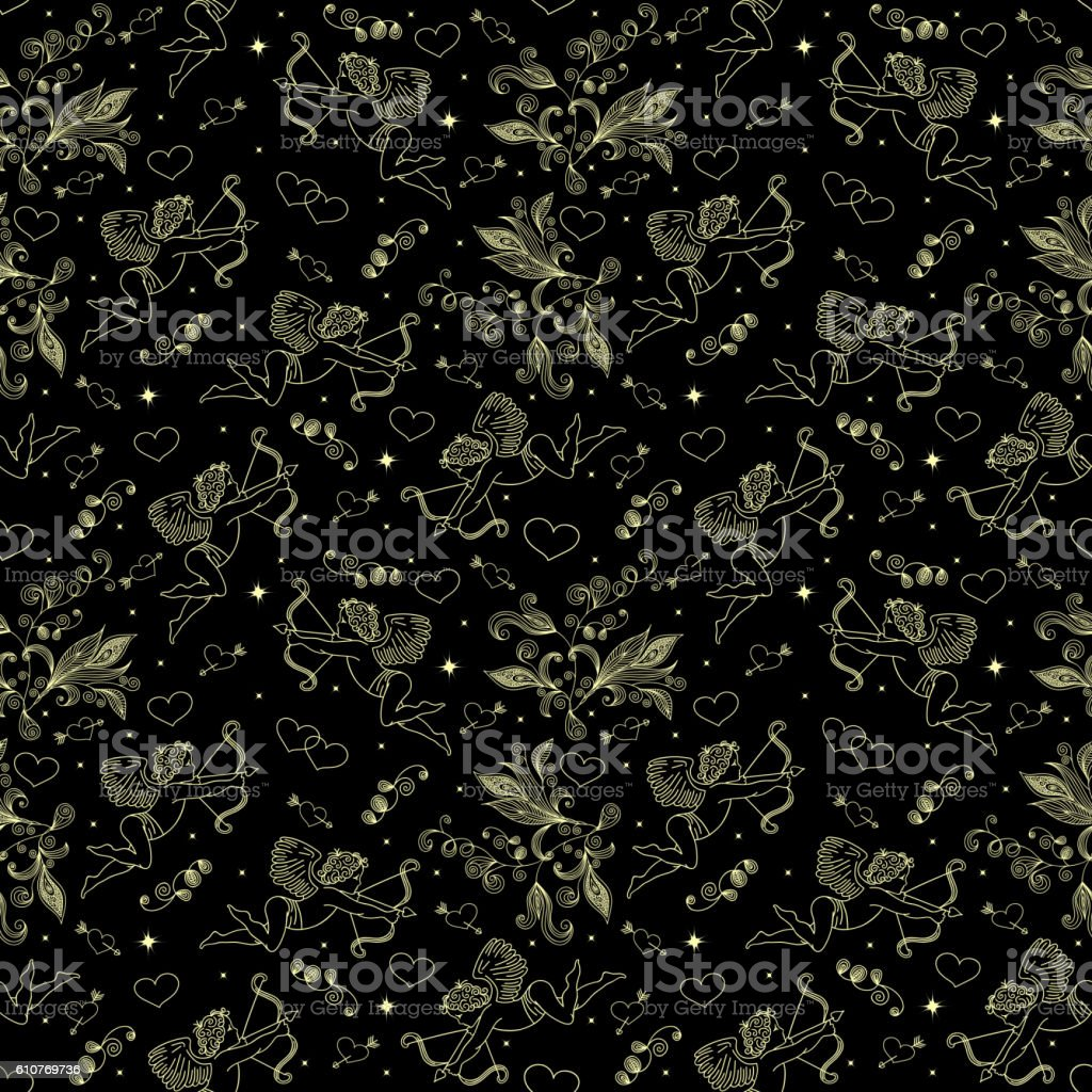 Seamless pattern with cupids and hearts vector art illustration