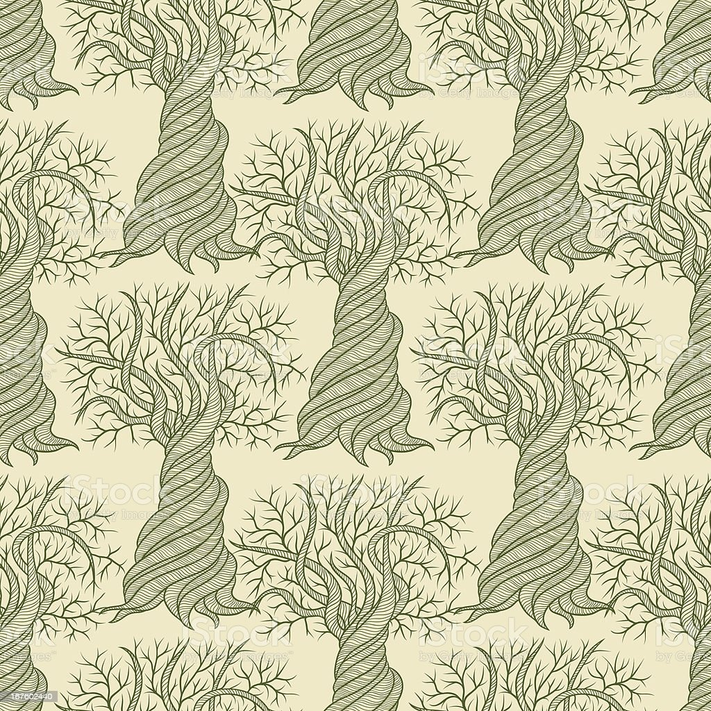 Seamless pattern with curling trees. royalty-free stock vector art