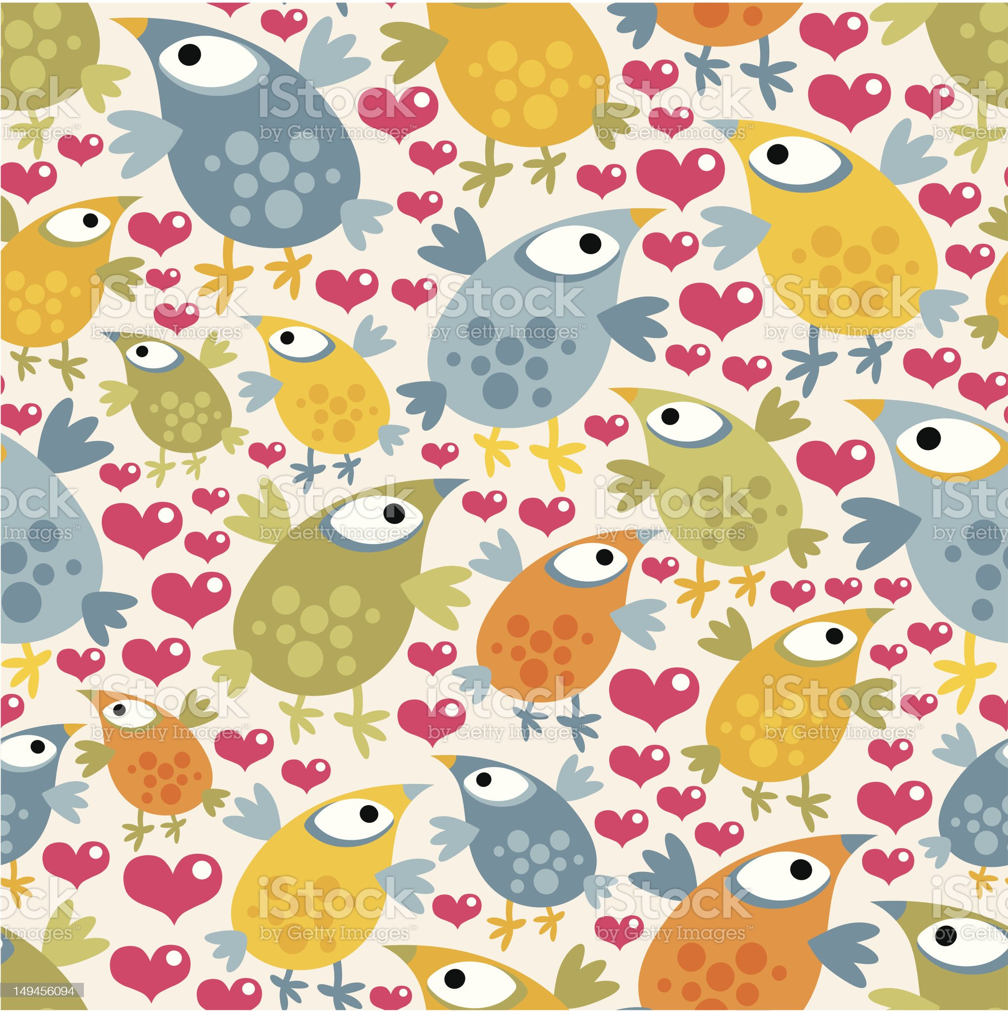 Seamless pattern with cute birds and hearts. royalty-free stock vector art