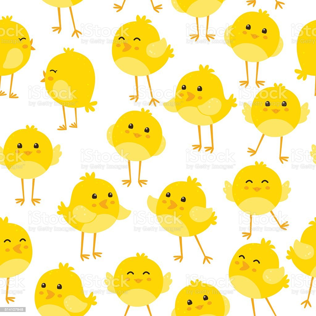 Seamless pattern with cute birds vector art illustration