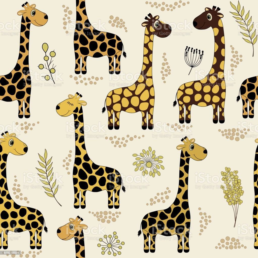 seamless pattern with cute cartoon giraffes stock vector art