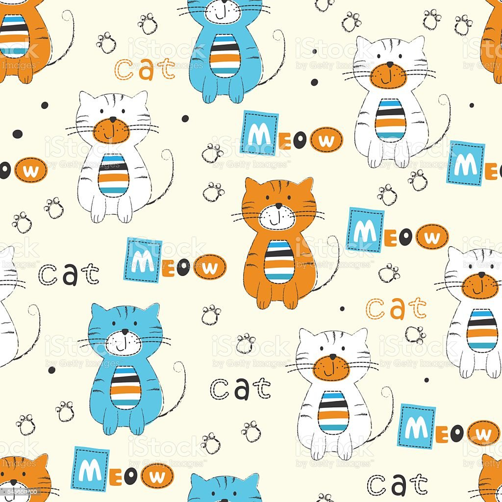 Seamless pattern with cute cats vector art illustration