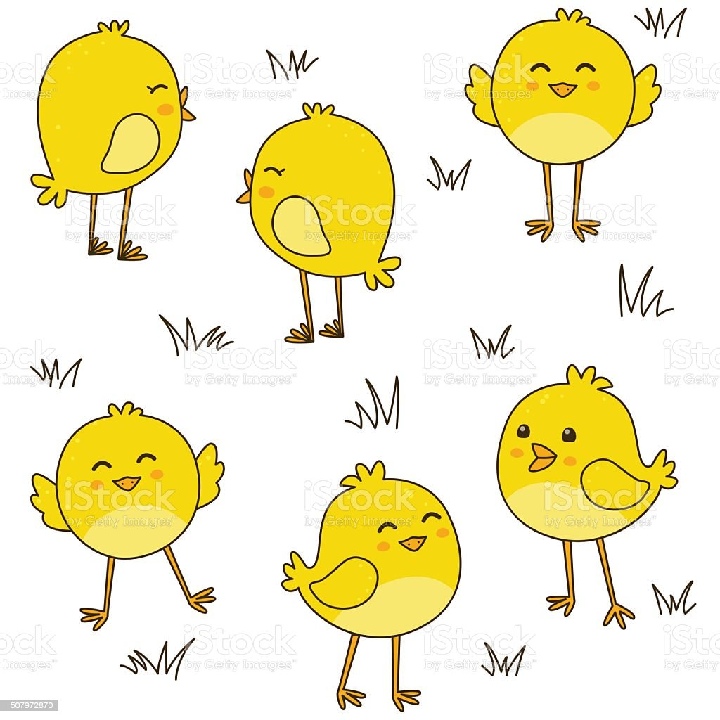 Seamless pattern with cute chickens vector art illustration