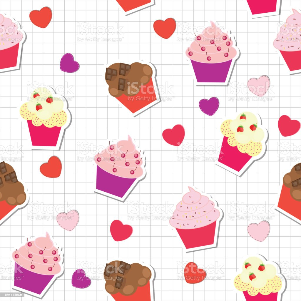 seamless pattern with cute cupcakes, vector illustration royalty-free stock vector art
