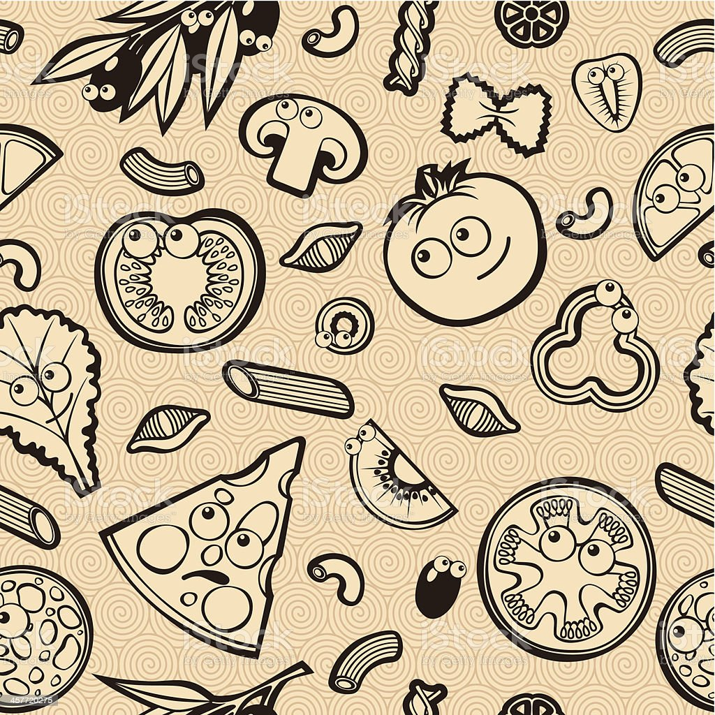 Seamless Pattern with Cute Food royalty-free stock vector art