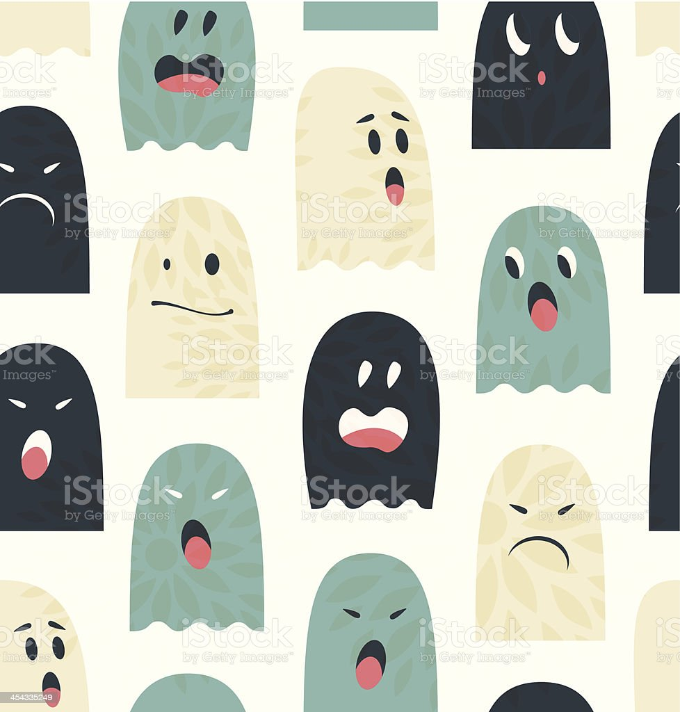 Seamless pattern with cute ghosts  Spooks background royalty-free stock vector art