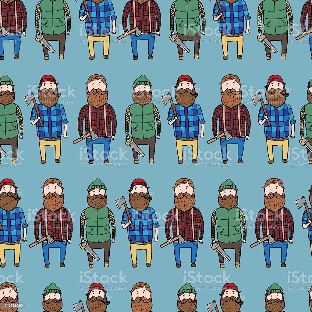 Seamless pattern with cute lumberjacks vector art illustration
