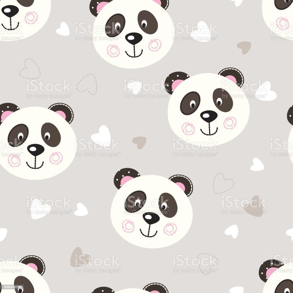 Seamless pattern with cute panda vector art illustration