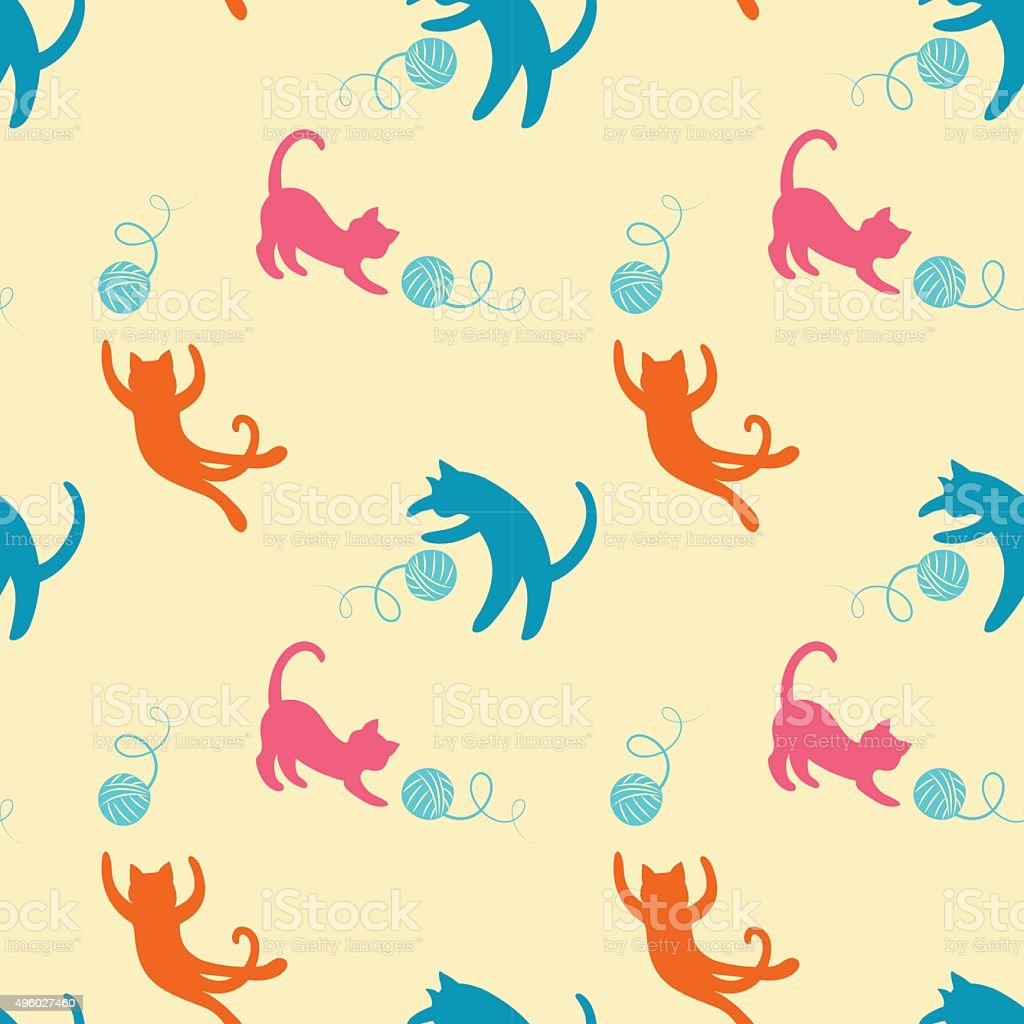 Seamless pattern with cute playing kitten. vector art illustration