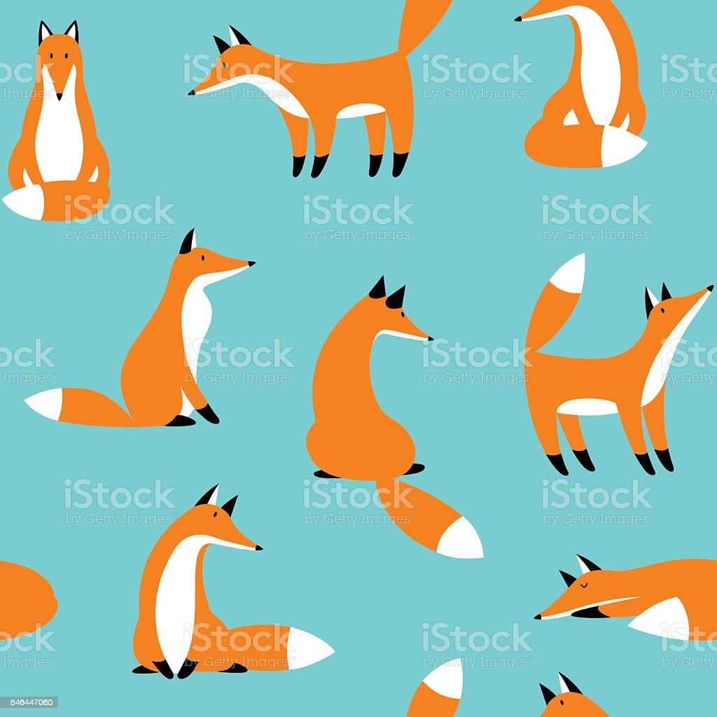 Seamless pattern with cute red foxe vector art illustration