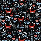 Seamless pattern with cute red foxes on doodle flower background