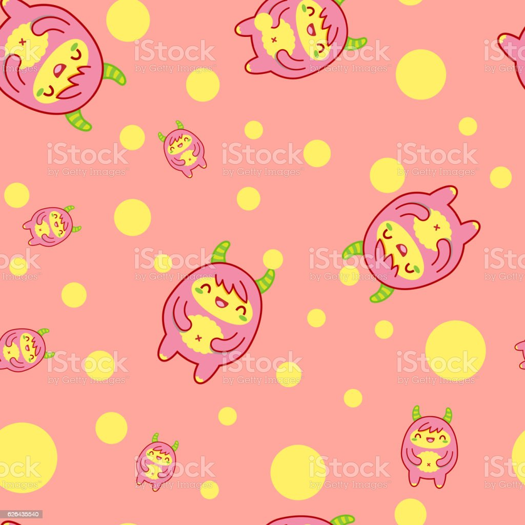 Seamless pattern with cute yeti. Vector illustration vector art illustration