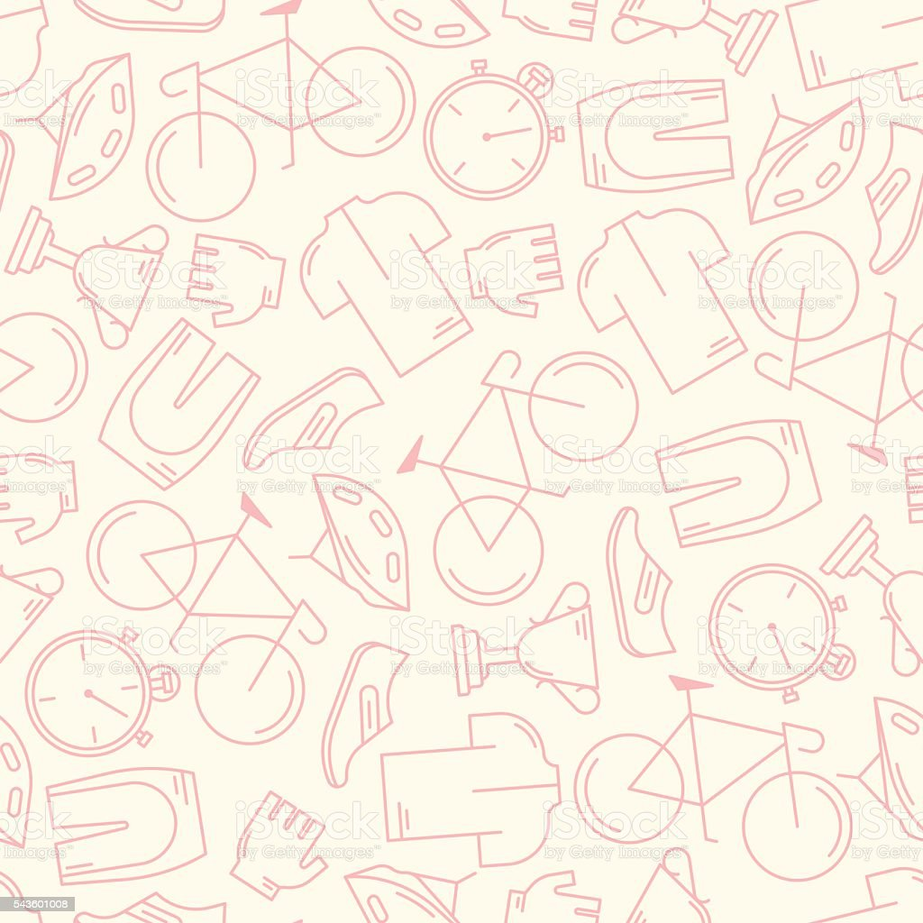 Seamless pattern with cycling attributes vector art illustration