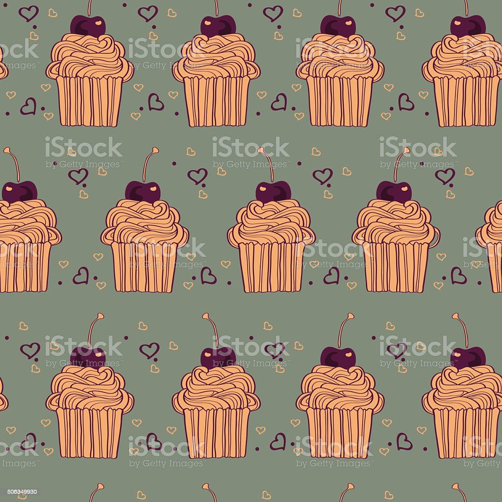 seamless pattern with decorative cupcakes in vintage colors vector art illustration