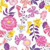 Seamless pattern with decorative delicate flowers. Easy to use for