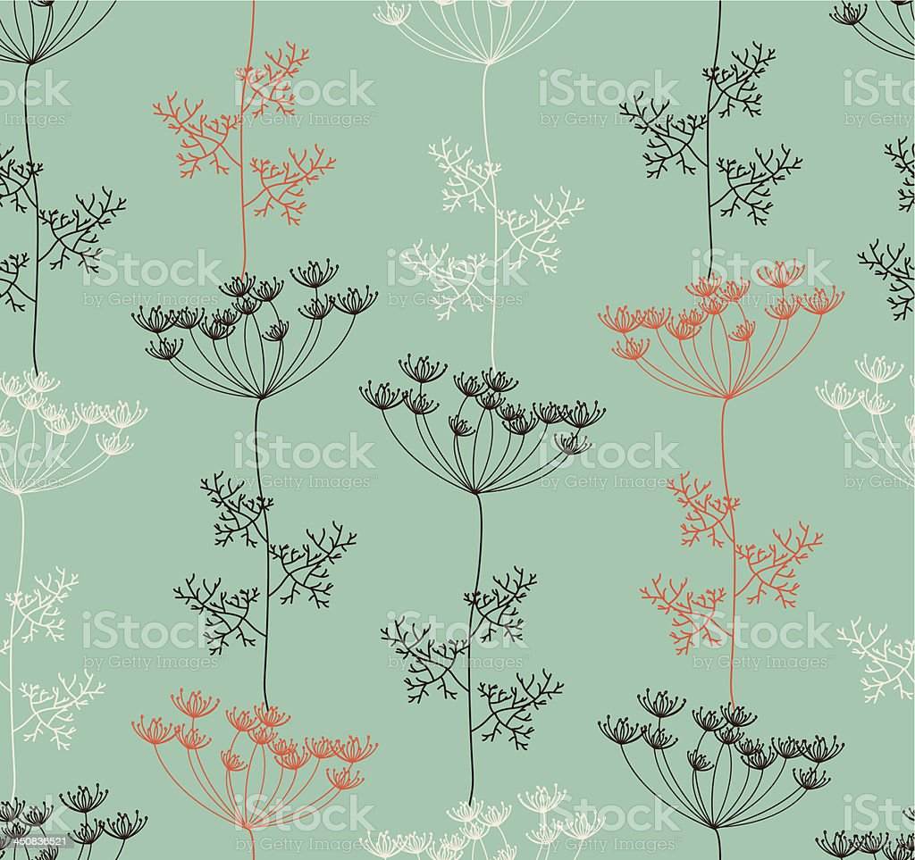 Seamless pattern with  decorative dill plant  in retro colors. vector art illustration