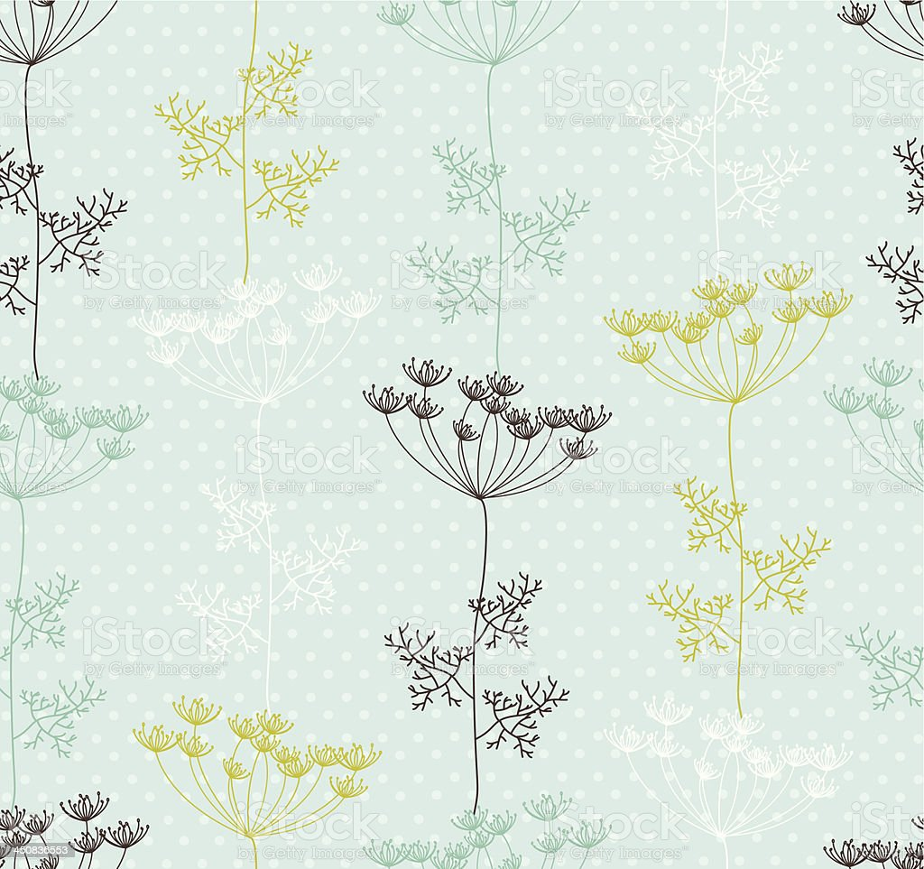 Seamless pattern with  decorative dill plant on spotted background. royalty-free stock vector art